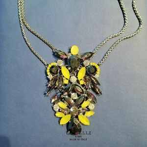 NWT Macy's Yellow Dark Gray Crystal Necklace
